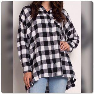 Soft Flannel Black White Button Down Plaid Shirt